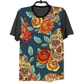 7dac08581d Camiseta Camisa 3d Full Floral Caveira Mexicana