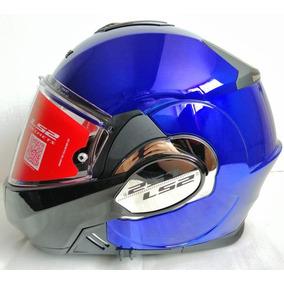 Casco Abatible Ls2 Valiant 180 Chromo Azul Ff399 Rider One