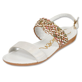 Calzado Dama Mujer Sandalia Casual Textil Blancofloral Comod