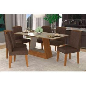Sala De Jantar Cimol Mesa Alana 180x90 Com 6 Cadeiras Nicole
