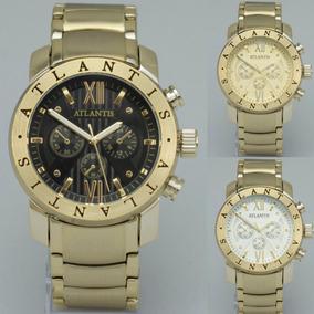 Relógio Masculino Atlantis Original Luxo Pulso Rosé Bvlg