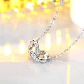 Collar Fino Corazones Chapado Oro Blanco Y Cristales