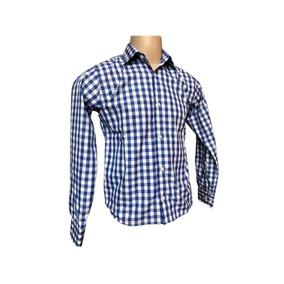 e572a7fd0d Camisa Social Masculina Quadriculada Xadrez Azul Festa