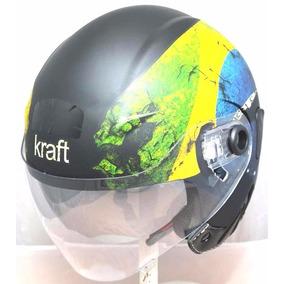 Capacete Kraft Jet Premium Brasil Dupla Viseira-frete Grátis