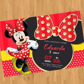 Arte Convite Digital Virtual Minnie Vermelha 02