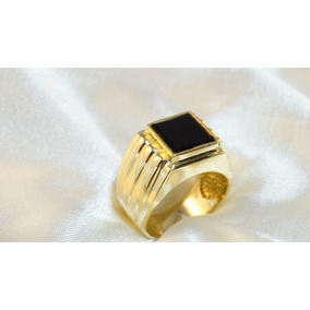 Anel Comendador Masculino De Ouro Amarelo Com Onix Quadrada