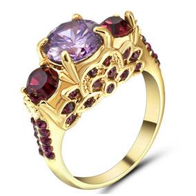 Anillo Compromiso Amatista Zirconia Púrpura #8 Chapa 10kt