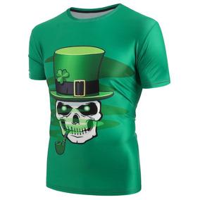 164fdc82bcb46 Camiseta Caveira Chapeu Trevo Camisa Sorte 3d Lançamento