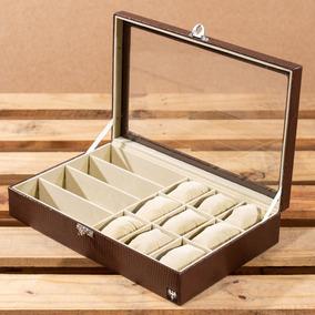 Caixa Estojo Porta 9 Relógios 4 Óculos Couro Croco Organizar