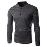 Camisa Stand Collar Long Sleeve Button Tee - Xl Deep Gray