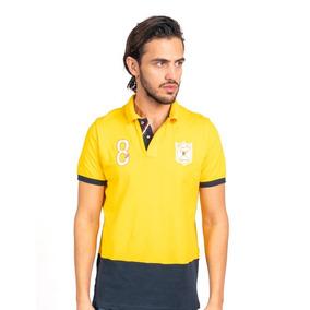 Camisa Tipo Polo Color Amarillo/marino