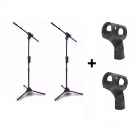Kit 2 Pedestal Suporte Microfone Smmax Ibox + 2 Cachimbos