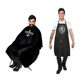 Avental Barbeiro Cabeleireiro + Capa De Corte Com Impressão