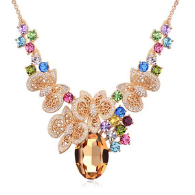 Collar Con Cristales, Amor De Cristal Ac16-606-oro Amarillo