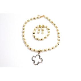 Collar De Perlas Con Pulsera Y Aretes