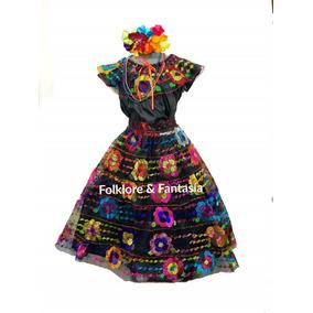 2f28577ce Vestido Típico Chiapas 6-7 Años 6 Olanes. Incluye Collares
