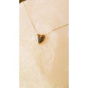 Collar Corazón Pequeño Cadena Delgada 46cm Oro Sólido 14k