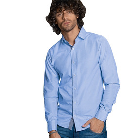 Camisa Hombre Caballero Casual/formal Manga Larca Azul Comod