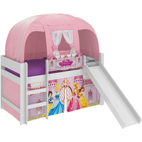 Cama Infantil Escorrega Barraca Princesas Disney Rosa Pura M
