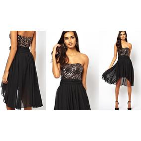 Vestido de lentejuelas negro strapless
