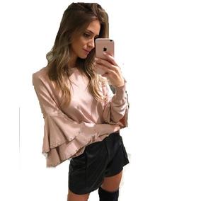 Shorts Feminino Couro Fake Cintura Alta