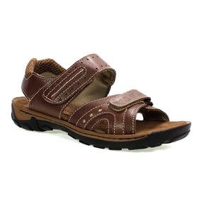 Sandália Masculina Em Couro Shoes Marrom Vudalfor