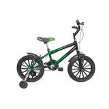 Bicicleta Aro 16 Infantil Menino Preto C/ Verde + Acessorios