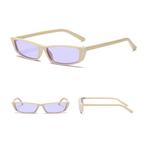 Óculos Sol Pequeno Proteção Uv400 Retangular Masc Fem Fino 1344bbc832