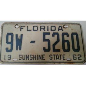Matricula Antigua Real 1962 Estados Unidos Florida