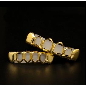 Grillz Dente Vazado Cor Ouro 6 Dentes Hip Hop Pergunte