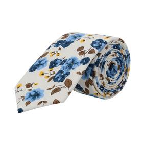 Corbata Royal Flush Blanca Con Flores Azules Y Amarillas