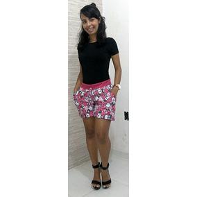 Bermuda Moletom Feminino Estampada Slim Fit Short