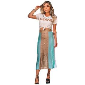 Conjunto Saia Longa Midi Tricot + Cropped Fashion Moda 2019