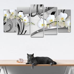 Quadro 65x125cm Canvas Orquídea Silver Luxury Decorativo