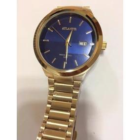 4cc68a2deae Relógio Atlantis Dourado Fundo Azul - Relógios no Mercado Livre Brasil