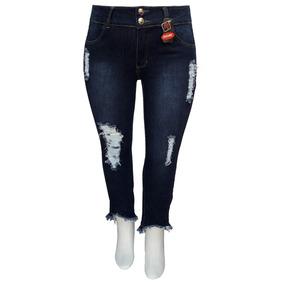 8b87c72f80 Calça Jeans Feminina Cropped Desfiada Boca - Calças no Mercado Livre ...