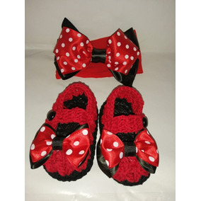 Zapatos Tejidos Tiara Para Bebé Minnie Mouse Moño