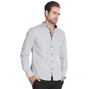 Camisas Hombre Slim Fit Blanca Estampada Manga Larga B85309