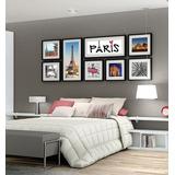 Quadros Decorativos Paris - 8 Unidades Com Moldura