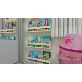Kit 3 Prateleiras Para Livros Brinquedos Decoração Branco