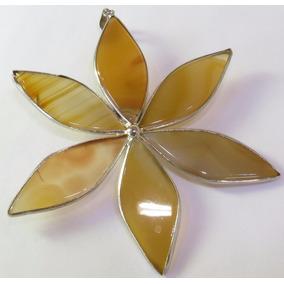 Pingente Flor Folheada A Prata Pedras Naturais