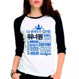 Camiseta Wanna One Integrantes Raglan Babylook 3/4