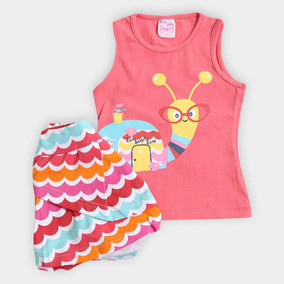 Conjunto Blusa + Saia Infantil For Girl Feminino