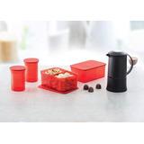 Kit Garrafa Térmica - 4 Potes Vermelhos Tupperware