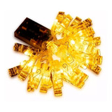Guirnalda Calida 3mts Led Broches Fotos Deco Luz A Pilas