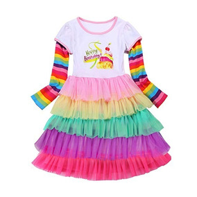 Vestido Unicornio Arcoiris Niñas Talla 4-5 Marca Princesasa