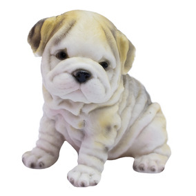 Cachorro Bulldog Filhote Sentado 11cm - Resina Animais