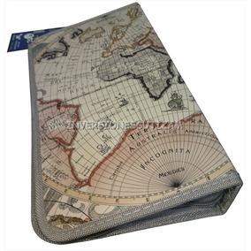 Porta Cd-80 Semicuero Mapa Mundi Resistente Dvd Blu-ray