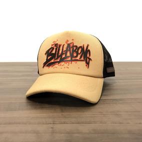 Boné Billabong Hand Break Bege Marrom Aba Curva Trucker Tela 88c7976f1af