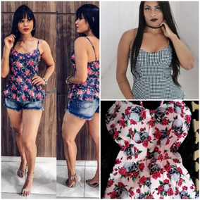 78ee726838232 Kit 10 Blusinhas Top Cropped Alça Básica Floral Liso Atacad